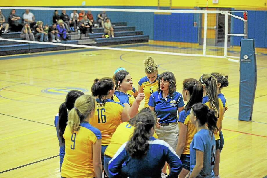 Laurie Gaboardi Register CitizenCindy Fixer talks to her team in its 3-0 win over Wolcott Tech. Photo: Journal Register Co.