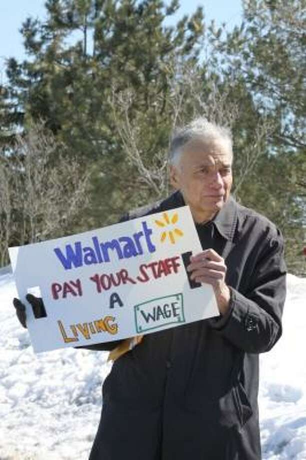 Kathryn Boughton/Register Citizen Ralph Nader picketed WalMart on Saturday in Torrington.