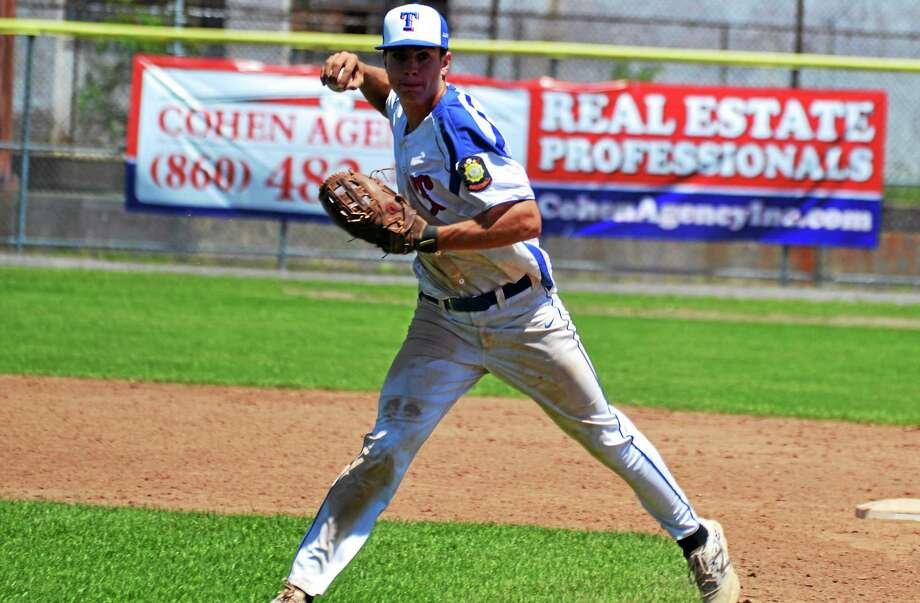 Torringtonís John McCarthy makes a throw on the run in the P38s loss to Avon in the second game of the double header, 10-4. Photo: Pete Paguaga — Register Citizen