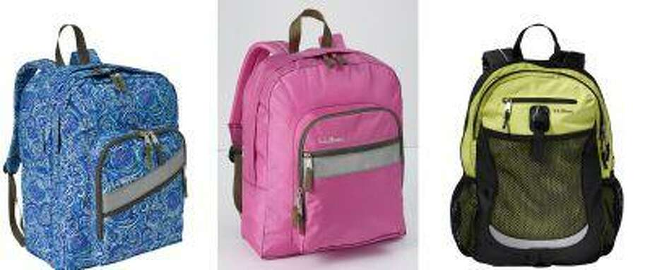 Backpacks at different price points, all from L.L. Bean: from left, Deluxe Book Pack for children age 10 and older, $39.95; the Original Back Pack for children age 7 and older, $34.95; and the Sport Pack, for children age 9 and older, $49.95. (L.L. Bean) Photo: THE WASHINGTON POST / THE WASHINGTON POST
