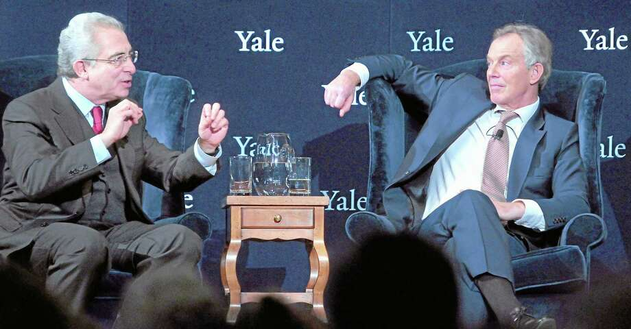 Former President of Mexico Ernesto Zedillo (left) and former British Prime Minister Tony Blair (right) participate in the forum, Global Crises: The Way Forward, at Yale University's Battell Chapel in New Haven on Dec. 3, 2012. Photo: Arnold Gold — New Haven Register — File Photo