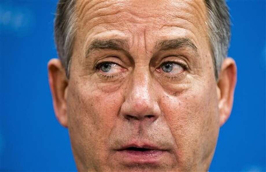 House Speaker John Boehner of Ohio talks to reporters on Capitol Hill in Washington, Tuesday, Sept. 10, 2013. Photo: AP / AP