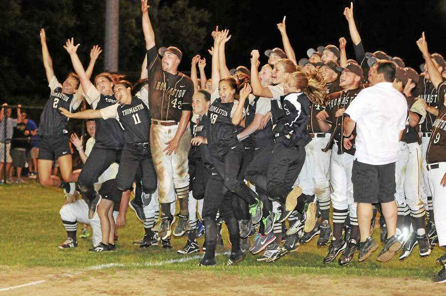 The Thomaston Golden Bears softball team joins the baseball team in celebration, after both teams clinched spots in the Class S title games. Photo: Laurie Gaboardi — Register Citizen