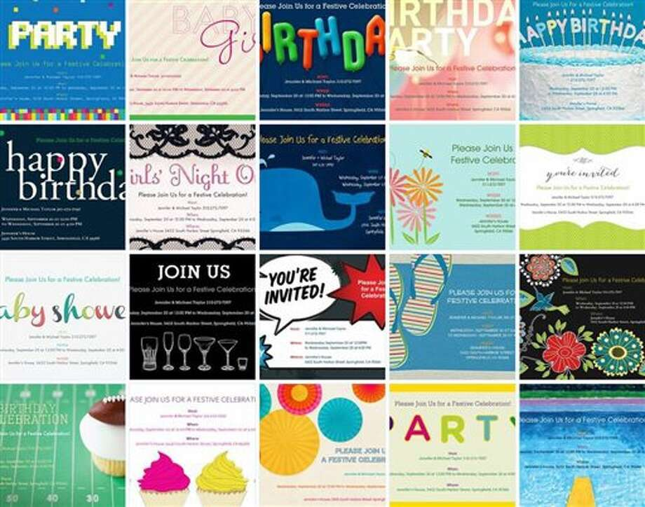This undated image provided by Evite shows a selection of the website's paper invitations. The website, which pioneered digital invitations 15 years ago, has started to sell paper ones for the first time. Customers can now create invitations online, have them printed by Evite and sent directly to party guests. The cards cost $2 each, plus any postage fees. (AP Photo/Evite) Photo: AP / Evite