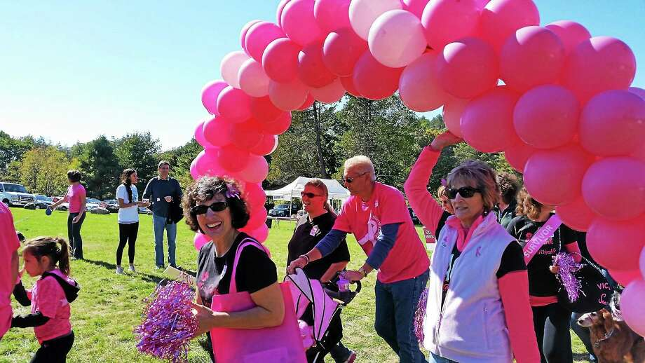 Walkers participate in the annual Making Strides Against Breast Cancer Walk at White Memorial in Litchfield Sunday. Photo: N.F. Ambery — Special To The Register Citizen