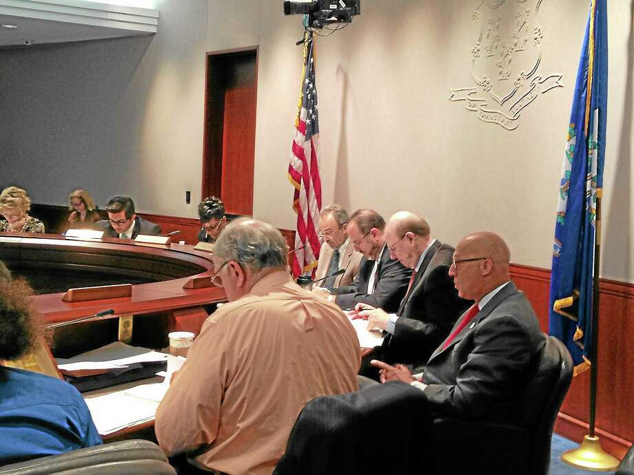 Allan B. Taylor Chair, Commissioner Stefan Pryor, Robert Trefry, Ex Officio, Joseph J. Vrabely, Jr., and Charles A. Jaskiewicz, III. of the state Board of Education during their October meeting discussing Winchester's failing finances. Photo: Mercy Quaye—Register Citizen