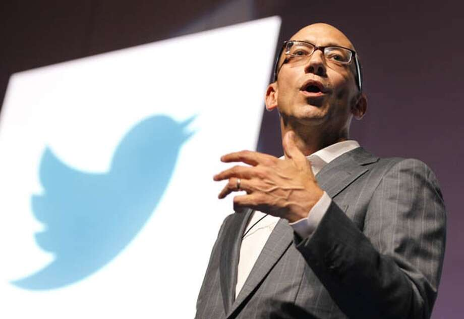 In this file photo, Twitter CEO Dick Costolo attends a seminar during the 59th edition of the International festival of creativity in Cannes, France, on June 20, 2012. Twitter is outpacing competitors in a crucial growth area: mobile advertising. (SEBASTIEN NOGIER/EPA) Photo: EPA / EPA FILE