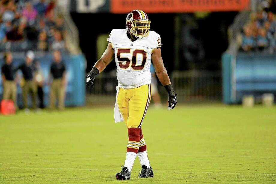 Washington Redskins linebacker Rob Jackson of West Haven plays against the Tennessee Titans in the second quarter of a preseason game on Aug. 8 in Nashville, Tenn. Photo: Mark Zaleski — The Associated Press  / FR170793 AP