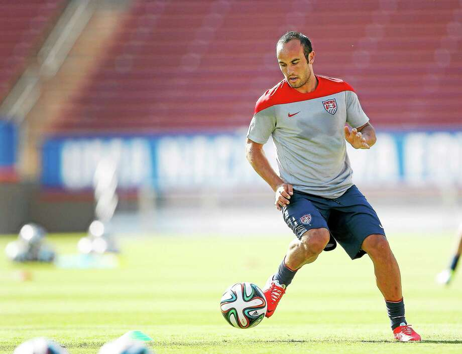 Landon Donovan controls the ball during a training session on May 14 in Stanford, California. Photo: Tony Avelar — The Associated Press  / AP2014