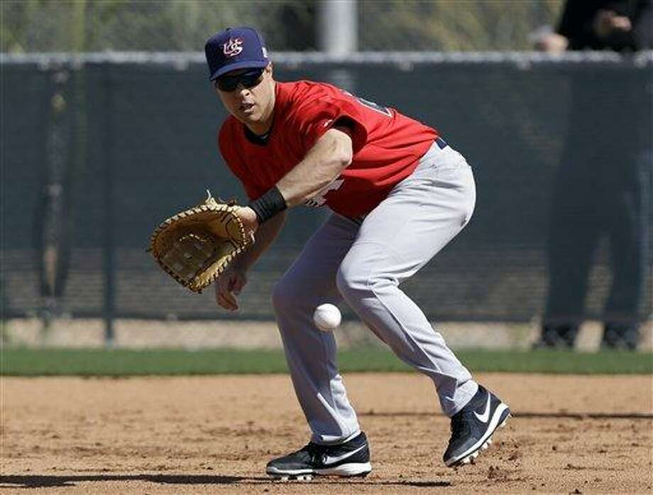 United States' Mark Teixeira during a training session in preparation for the World Baseball Classic on Monday, March 4, 2013 in Scottsdale. Ariz. The United States is scheduled to face Mexico in a first round game on Friday in Phoenix. (AP Photo/Marcio Jose Sanchez) Photo: ASSOCIATED PRESS / AP2013