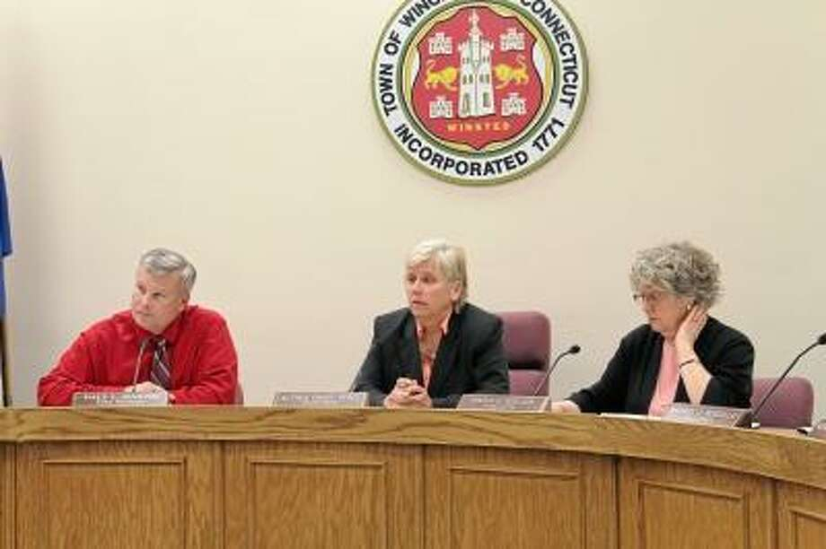 Members of the Winsted Board of Selectmen and town manager Dale Martin, left. File photo.