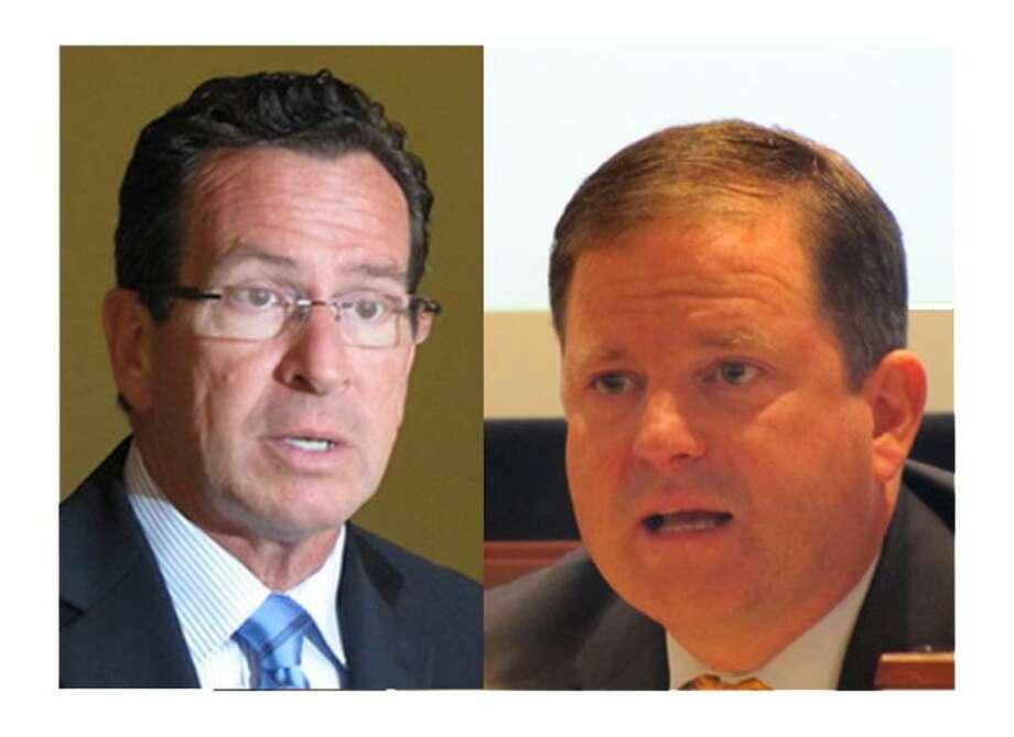 Gov. Dannel P. Malloy, left, and his challenger Sen. John McKinney