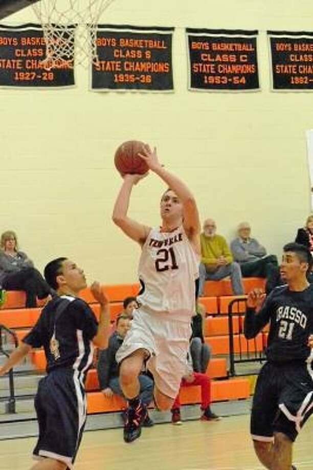 Terryville's Jacob Johnson going up for a layup against Grasso Tech. Johnson scored 24 points in Terryville's 83-45 win. Pete Paguaga/Register Citizen