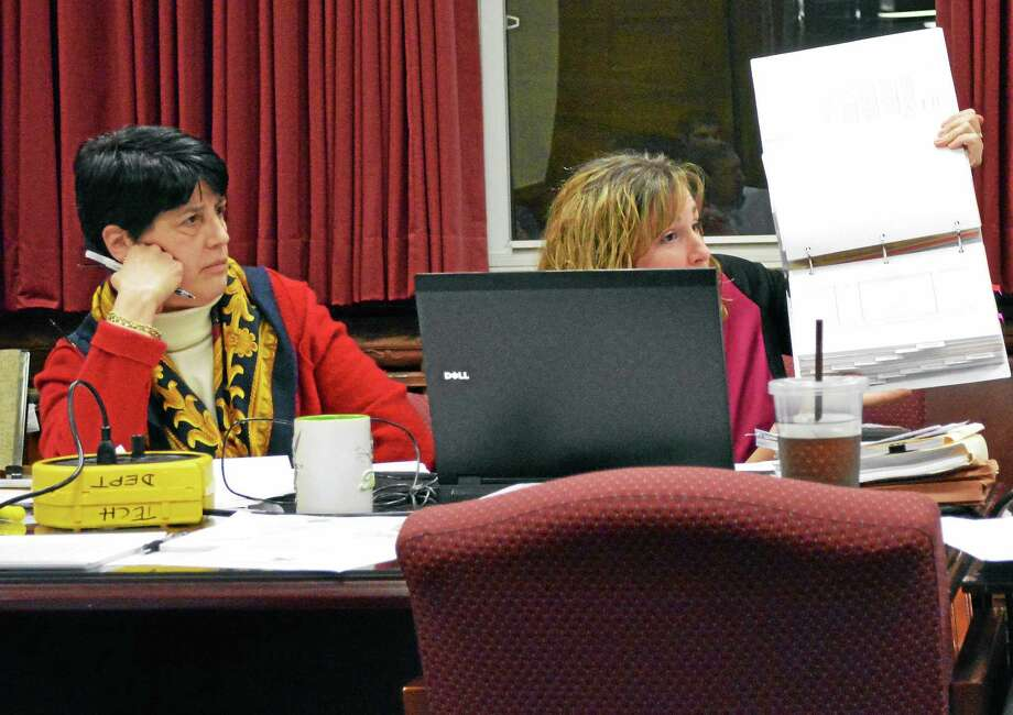 Isaac Avilucea - Register Citizen ¬ Torrington schools Superintendent Cheryl Kloczko and Danielle Batchelder, the district's Director of Business Services, during a Board of Education budget meeting Wednesday, Feb. 26, 2014. Photo: Journal Register Co.