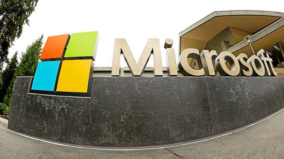 This photo shows the Microsoft Corp. logo outside the Microsoft Visitor Center in Redmond, Wash. Photo: AP Photo Ted S. Warren  / AP
