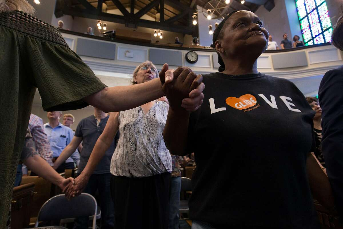 Parishioners take in a service in which Karen Hanrahan was introduced as the new president and CEO of Glide Memorial Church during weekly services, on Sunday, Aug. 27, 2017 in San Francisco, Calif. (D. Ross Cameron / Special to The Chronicle)