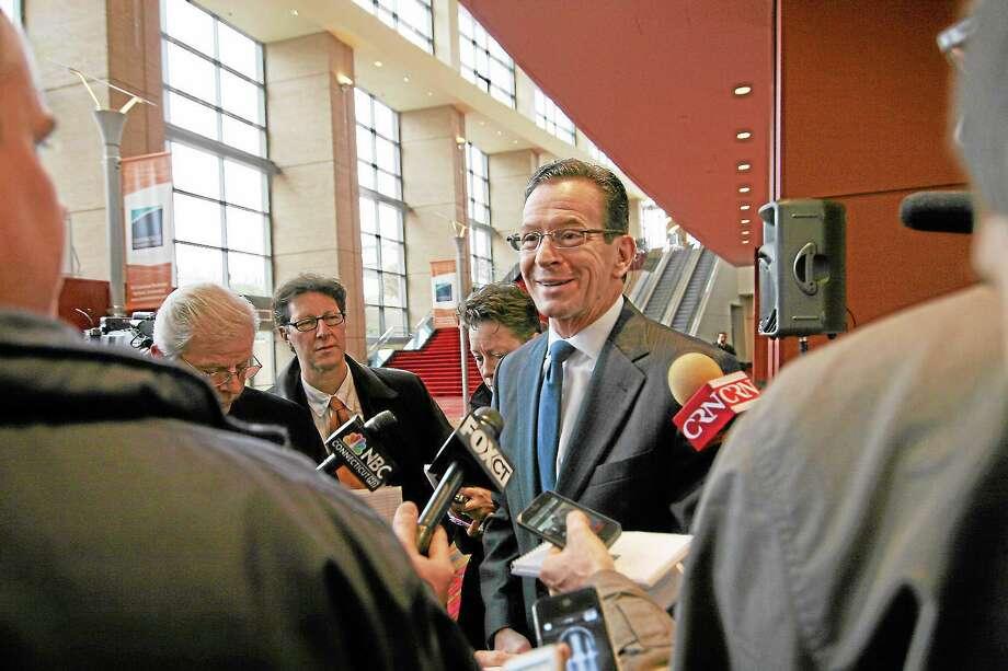 Gov. Dannel P. Malloy speaks to reporters. Photo: Christine Stuart — CTNewsJunkie.com