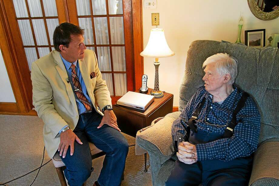 State Sen. Kevtin Witkos (left) talks to Torrington resident and World War II Vet Ralph G. Murphy. Photo: Contributed Photo  / All Rights Reserved