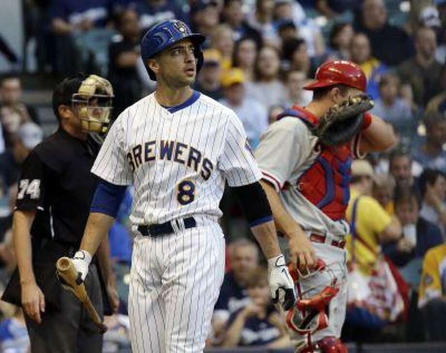 Milwaukee Brewers' Ryan Braun looks back after striking out during the first inning of a baseball game against the Philadelphia Phillies Friday, June 7, 2013, in Milwaukee. Photo: ASSOCIATED PRESS / AP2013