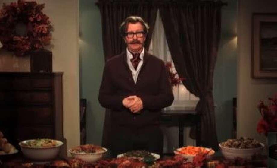 "Gary Oldman shares a Thanksgiving message on ""Jimmy Kimmel Live"" on Nov. 27, 2013."