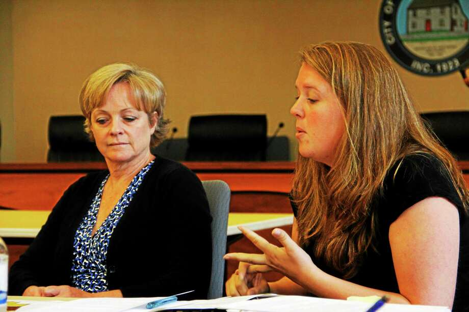 Torrington Economic Development Director Erin Wilson (right) talks next to Mayor Elinor Carbone during a Municipal Development Project committee meeting Monday. Photo: Esteban L. Hernandez — The Register Citizen