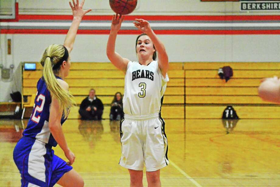 Thomastonís Nicole Schaefer scored 15 points in the Golden Bears win to advance to the BL finals on Friday night. Photo: Pete Paguaga — Register Citizen