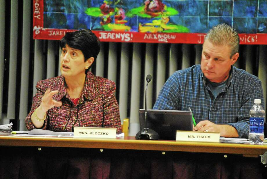 Jessica Glenza-Register Citizen Torrington schools Superintendent Cheryl Kloczko and Board of Education chair Ken Traub during a board meeting on Wednesday, Oct. 24, 2013. Photo: Journal Register Co.