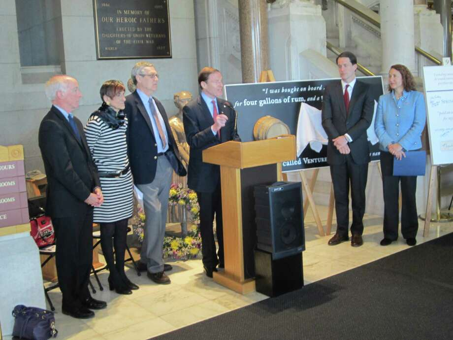 Photo courtesy of Dorothea DiCecco Sen. Richard Blumenthal, center, joins other dignitaries and guests at a ceremony honoring Venture Smith in Hartford.