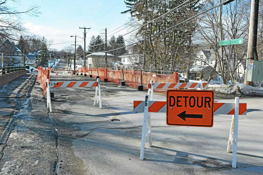 There is no set date for the Holabird Avenue Bridge to be re-opened, though Town Manager Dale Martin said he plans to meet with engineers Tuesday. Photo: Ryan Flynn — Register Citizen