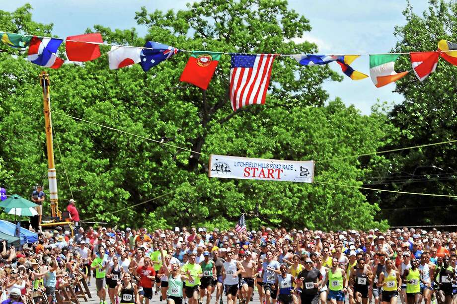 (Melanie Stengel - New Haven Register)    The start of the Litchfield Hills Road Race Sunday. View a complete photo gallery from the race at media.RegisterCitizen.com. Photo: Journal Register Co.