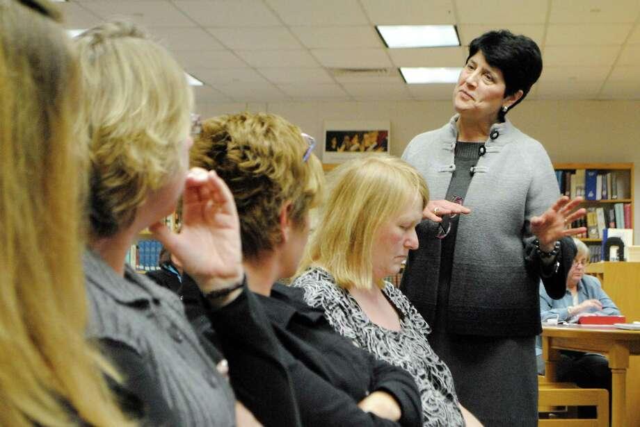 Torrington Schools Superintendent Cheryl Kloczko presents her proposed budget in March. Photo: Register Citizen File Photo