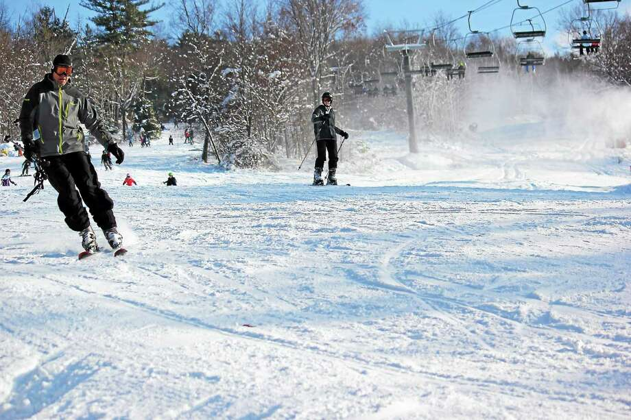 Skiers and snowboarders enjoy snow conditions on the first day of the season at Mohawk Mountain. Photo: Photo Courtesy Of Mohawk Mountain