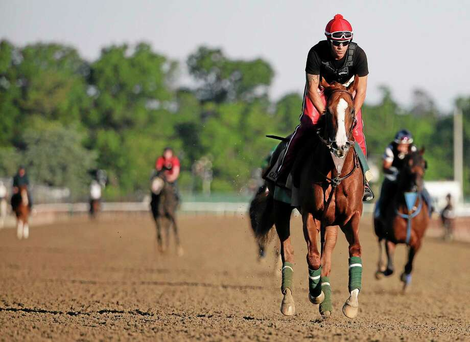 California Chrome takes a lap, with exercise rider Willie Delgado up, during a workout Friday at Belmont Park in New York. Photo: Julie Jacobson — The Associated Press  / AP