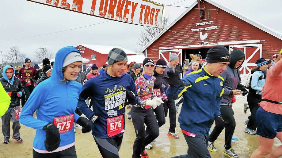 Runners compete in the 37th Annual Goshen Turkey Trot at Goshen Fairgrounds on Route 63 in Goshen Thursday morning. Photo: N.F. Ambery — Special To The Register Citizen