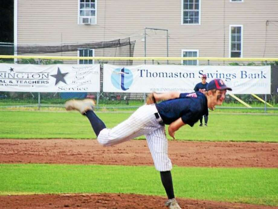 Torrington Sports Palace pitcher Ryan Reynolds was a force on the mound (6 strikeouts) and at bat (three-run homer) in Torrington's 7-3 win over Litchfield Tri-Town Monday at Fuessenich Park.  Photo by Peter Wallace/Register Citizen