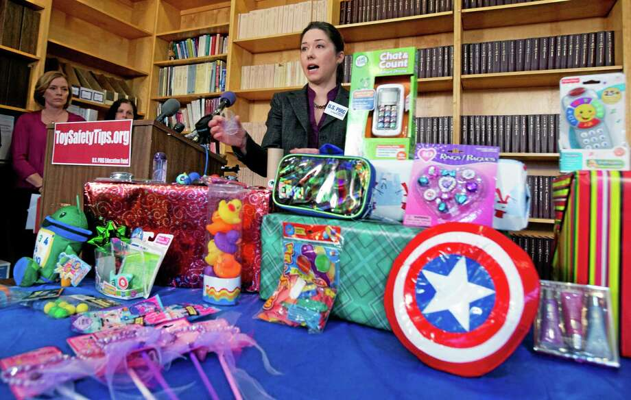 Jenny Levin, U.S. PIRG's public health advocate, speaks during a news conference Tuesday with toys considered dangerous. Photo: Manuel Balce Ceneta — The Associated Press  / AP