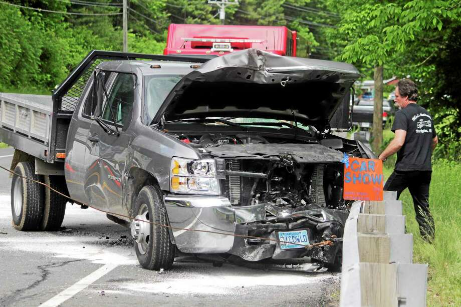 A 2007 Chevrolet Silverado was involved in a two-car crash on Route 44 in Barkhamsted Friday. Photo: Shako Liu — The Register Citizen