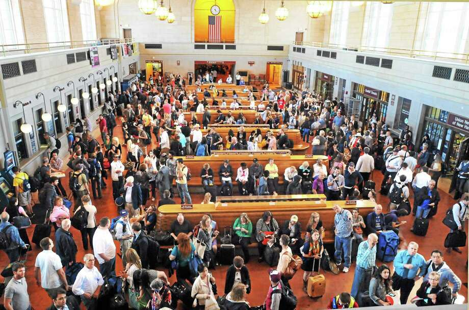 Train riders poured into New Haven's Union Station because of delays due to the Walk Bridge in Norwalk being stuck. Photo: Mara Lavitt — New Haven Register   / Mara Lavitt