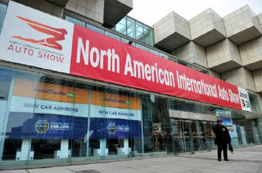 A sign outside Cobo Hall as preparations are made for the North American International Auto Show Jan. 12 in Detroit, Michigan. The 2014 Detroit Auto Show runs Jan. 13 to 16.