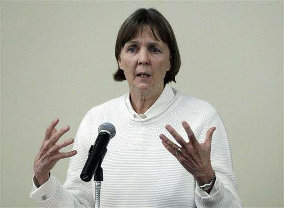 """In this April 26, 2013 file photo, Judy Clarke, a defense lawyer whose high-profile clients include """"Unabomber"""" Ted Kaczynski, Olympic bomber Eric Rudolph, and Tucson shooter Jared Lee Loughner, speaks at Loyola Law School in Los Angeles. (AP Photo/Reed Saxon, File) Photo: AP / AP"""