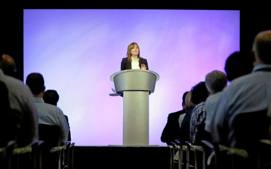 General Motors CEO Mary Barra addresses employees at the automaker's vehicle engineering center in Warren, Mich., Thursday, June 5, 2014. Barra said 15 employees have been fired and five others have been disciplined over the company's failure to disclose a defect with ignition switches that is now linked to at least 13 deaths. (AP Photo/Carlos Osorio) Photo: AP / AP