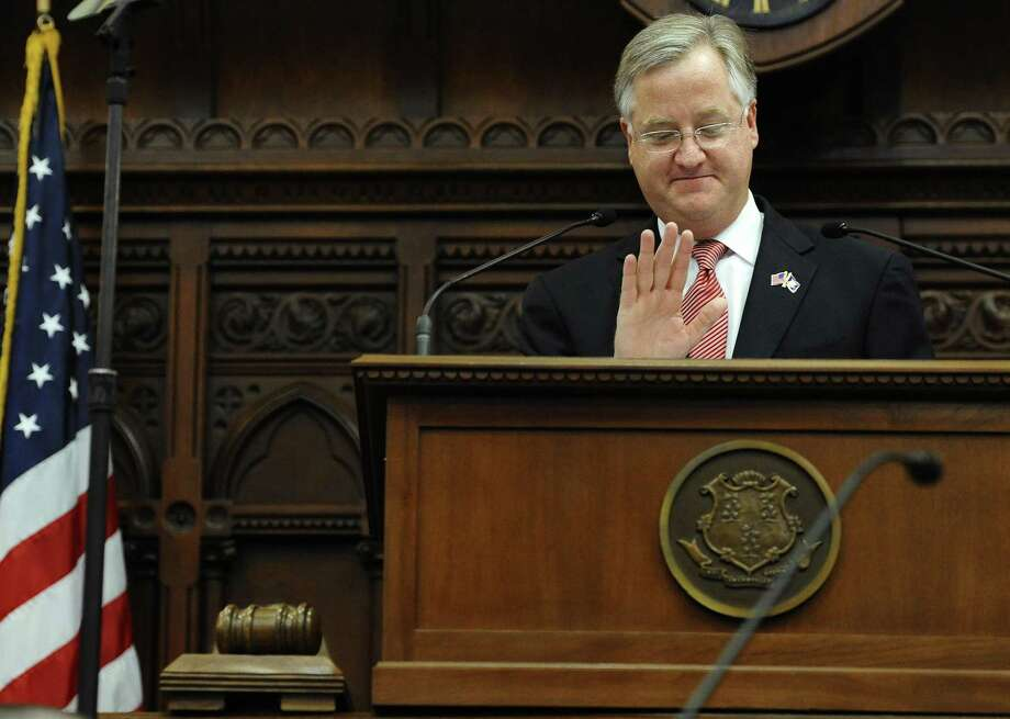 Newly sworn in Speaker of the House Brendan Sharkey gestures while speaking at the Capitol in Hartford, Conn., Wednesday, Jan. 9, 2013. Gun control, mental health care and school safety are expected to be major topics in the new session. Legislators also must grapple with a projected deficit of about $1.2 billion. (AP Photo/Jessica Hill) Photo: AP / FR125654 AP