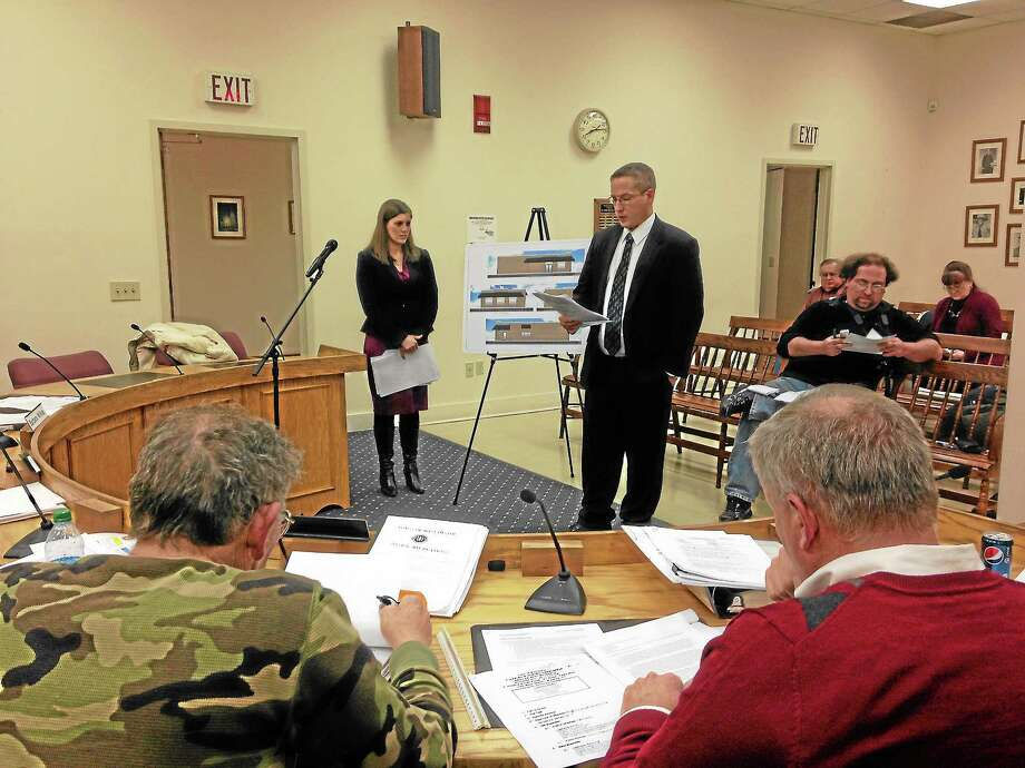 James and Karen Dietz present their site plan for a marijuana dispensary in Winsted on Monday, Nov. 25, 2013. Photo: Mercy Quaye — Register Citizen