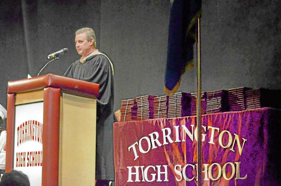 Ken Traub, school board chairman, speaks at the graduation ceremony for the Torrington High School class of 2013. Photo: John Berry—Register Citizen