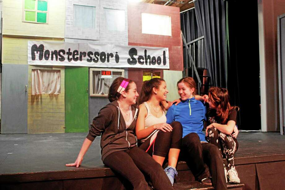 Students at the Forman School rehearsing for an upcoming play. Photo: Shako Liu—The Register Citizen