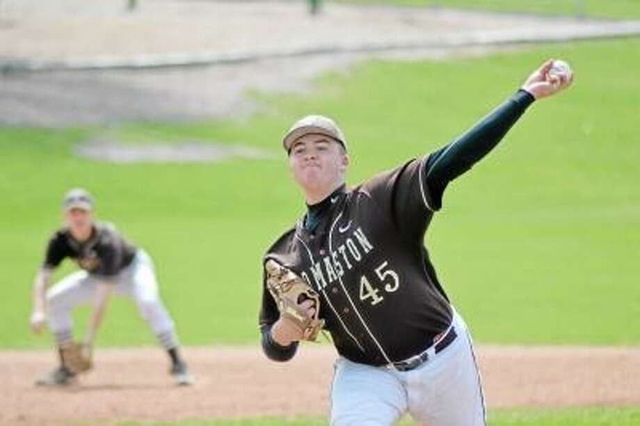Thomaston's Blaise Russo pitched a complete game allowing four hits and striking out nine. Thomaston defeated Litchfield 3-1. Photo by Pete Paguaga/Register Citizen