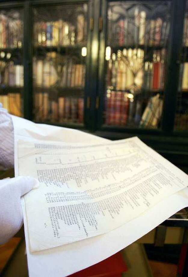 Curator of the State Library of NSW, Stephen Martin handles a carbon copy of the original Schindler's List following its discovery by The State Library's Dr Olwen Pryke, at The State Library Of New South Wales on April 7, 2009 in Sydney, Australia. Photo: Getty Images / 2009 Getty Images