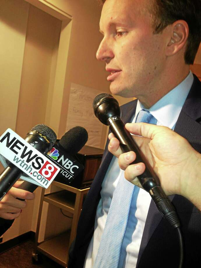 U.S. Sen. Chris Murphy, D-Conn., in his latest roundtable discussion with experts on behavior health funding. Photo: Mary O'Leary — New Haven Register