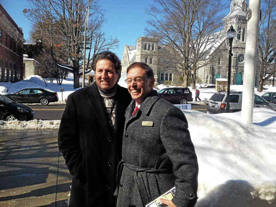 Mark Lauretano, candidate for state's 64th Assembly District (right) and Republican gubernatorial candidate Joe Visconti (left) at a Thursday morning press conference in front of Torrington City Hall. Photo: Jenny Golfin—Register Citizen