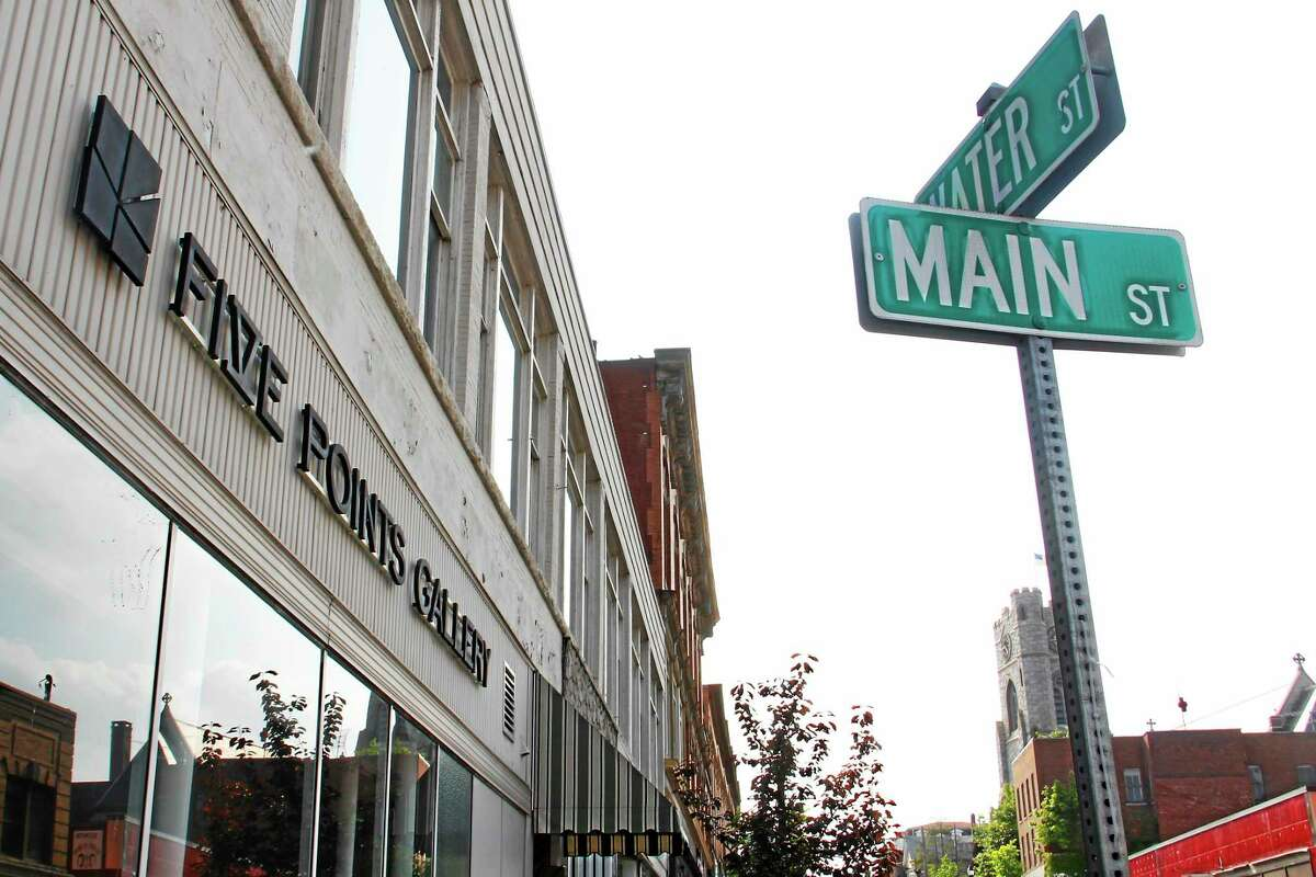The intersection of Main and Water streets in Torrington, outside Five Points Gallery. The art gallery is one the focal points of the downtown district's flourishing art scene.